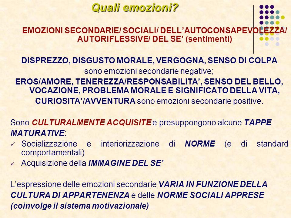 Quali emozioni? EMOZIONI SECONDARIE/ SOCIALI/ DELLAUTOCONSAPEVOLEZZA/ AUTORIFLESSIVE/ DEL SE (sentimenti) DISPREZZO, DISGUSTO MORALE, VERGOGNA, SENSO