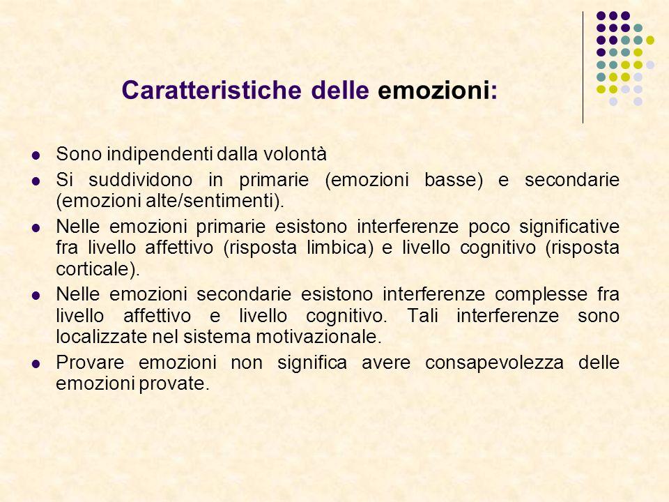 Caratteristiche delle emozioni: Sono indipendenti dalla volontà Si suddividono in primarie (emozioni basse) e secondarie (emozioni alte/sentimenti). N