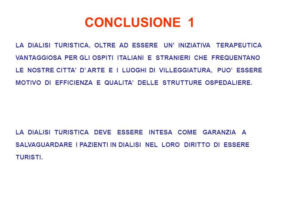 CONCLUSIONE 1 LA DIALISI TURISTICA, OLTRE AD ESSERE UN INIZIATIVA TERAPEUTICA VANTAGGIOSA PER GLI OSPITI ITALIANI E STRANIERI CHE FREQUENTANO LE NOSTRE CITTA D ARTE E I LUOGHI DI VILLEGGIATURA, PUO ESSERE MOTIVO DI EFFICIENZA E QUALITA DELLE STRUTTURE OSPEDALIERE.