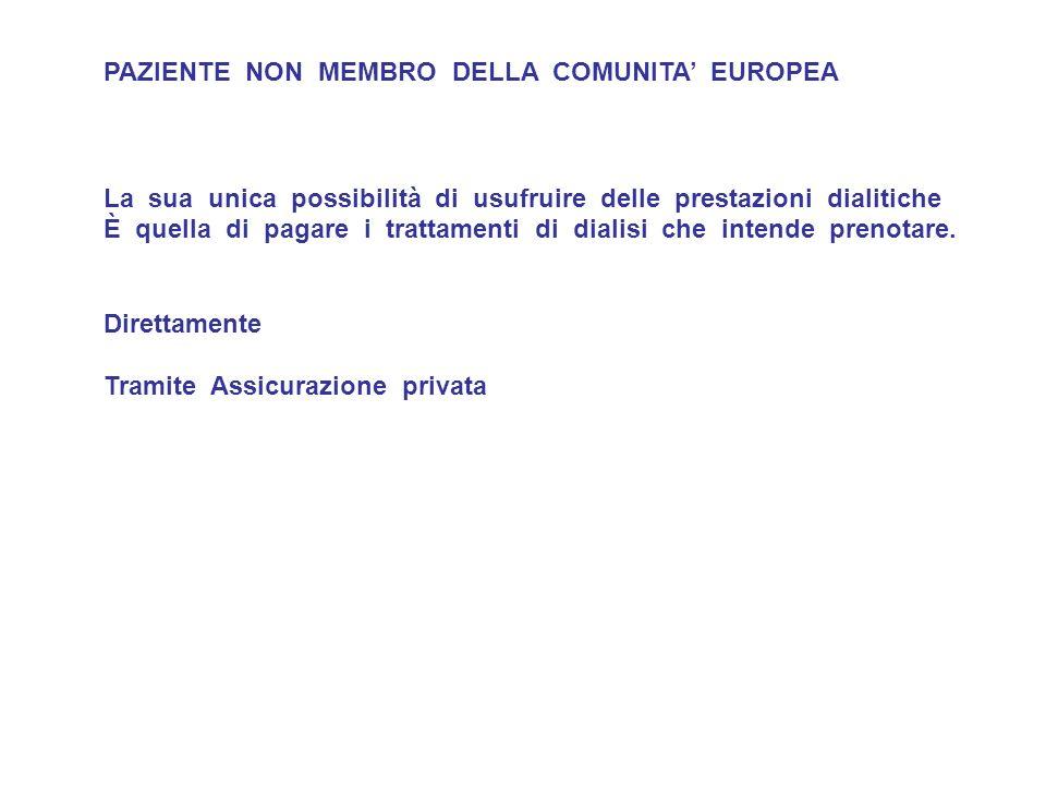 PAZIENTE MEMBRO DELLA COMUNITA EUROPEA Se esistono gli accordi di garanzia della prestazione sanitaria Il paziente può utilizzare, se accettato dal Centro ricevente, la tessera sanitaria europea ( EHIC Card – European Health Insurance Card ) che sostituisce il vecchio modello E 111.