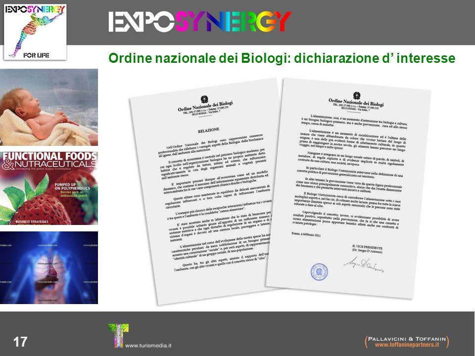 17 Ordine nazionale dei Biologi: dichiarazione d interesse
