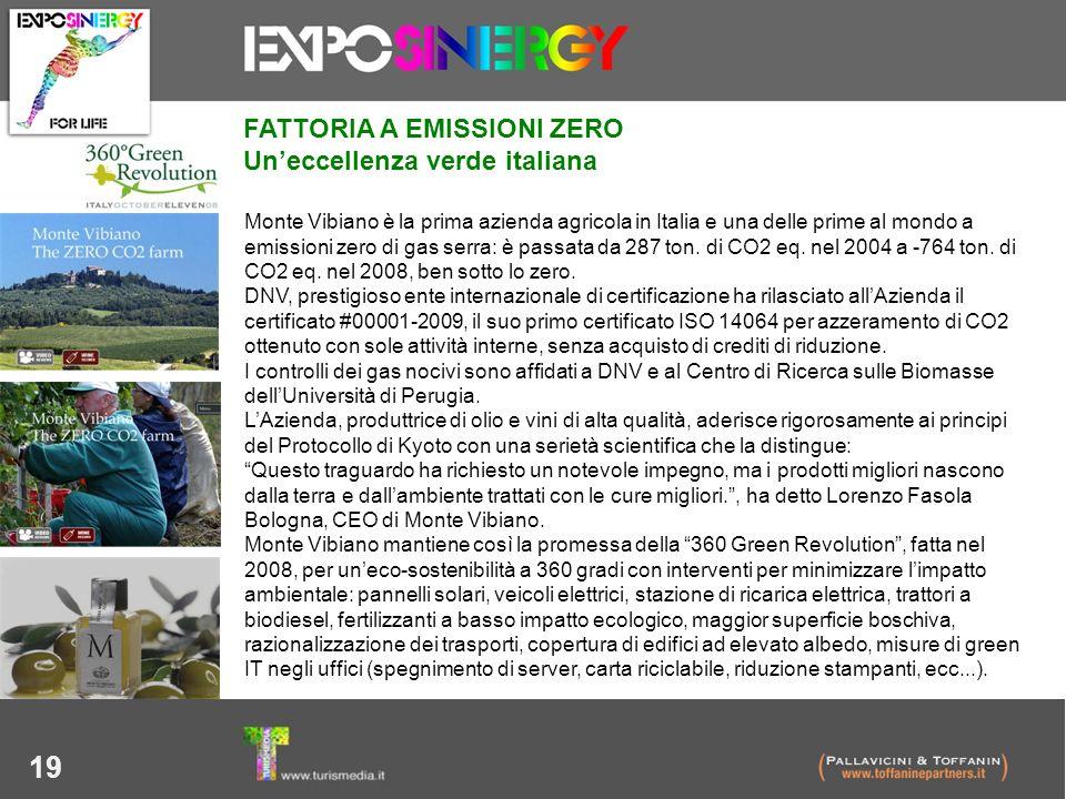 19 Monte Vibiano è la prima azienda agricola in Italia e una delle prime al mondo a emissioni zero di gas serra: è passata da 287 ton. di CO2 eq. nel