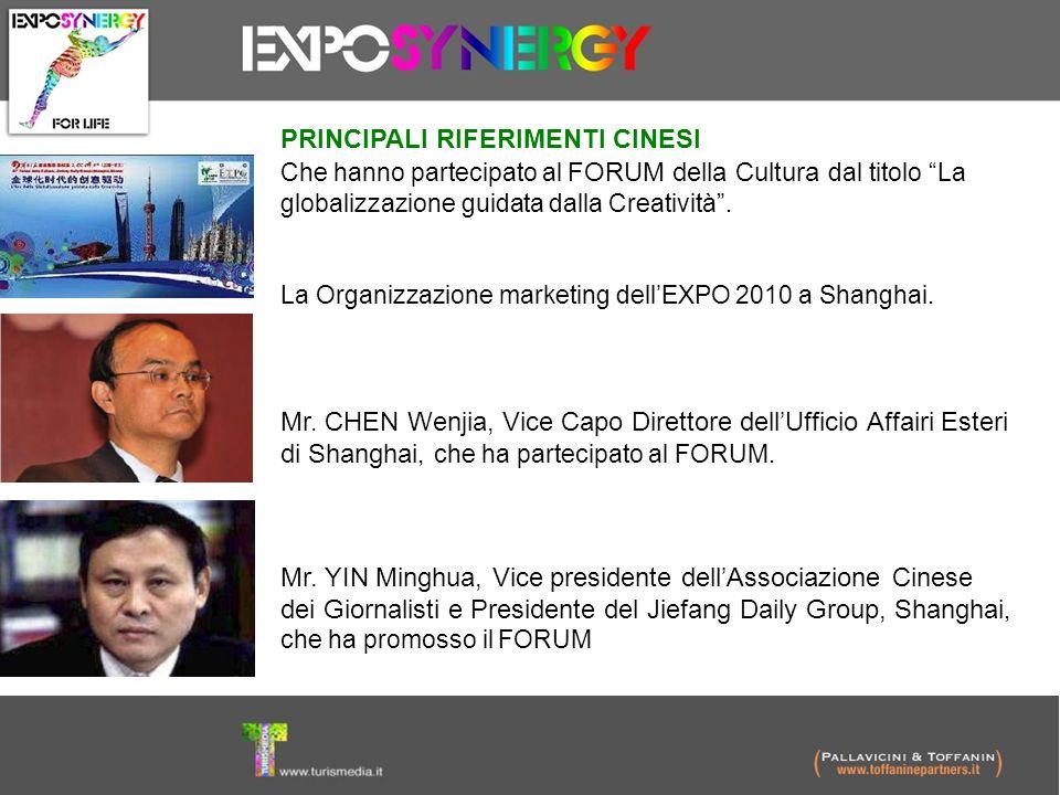 PRINCIPALI RIFERIMENTI CINESI Che hanno partecipato al FORUM della Cultura dal titolo La globalizzazione guidata dalla Creatività. La Organizzazione m