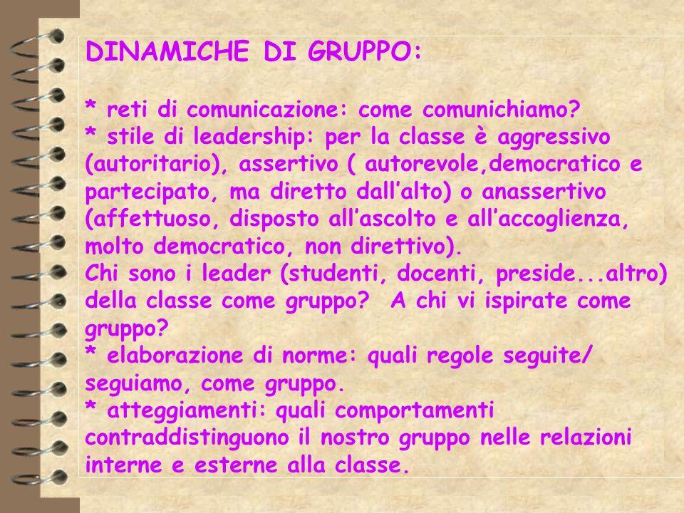 DINAMICHE DI GRUPPO: * reti di comunicazione: come comunichiamo? * stile di leadership: per la classe è aggressivo (autoritario), assertivo ( autorevo