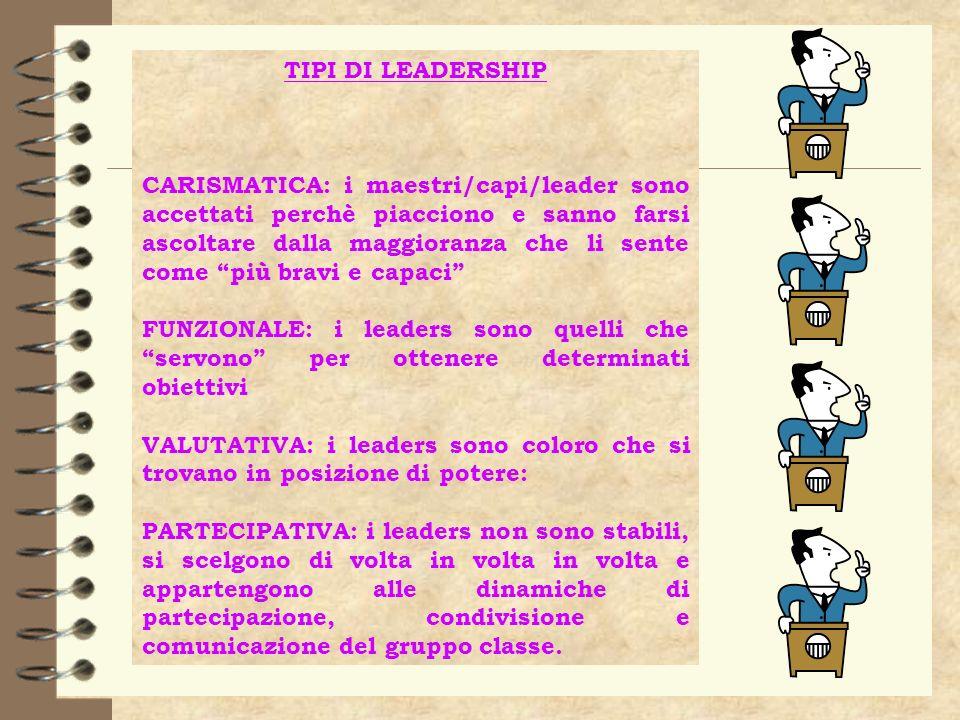 TIPI DI LEADERSHIP CARISMATICA: i maestri/capi/leader sono accettati perchè piacciono e sanno farsi ascoltare dalla maggioranza che li sente come più