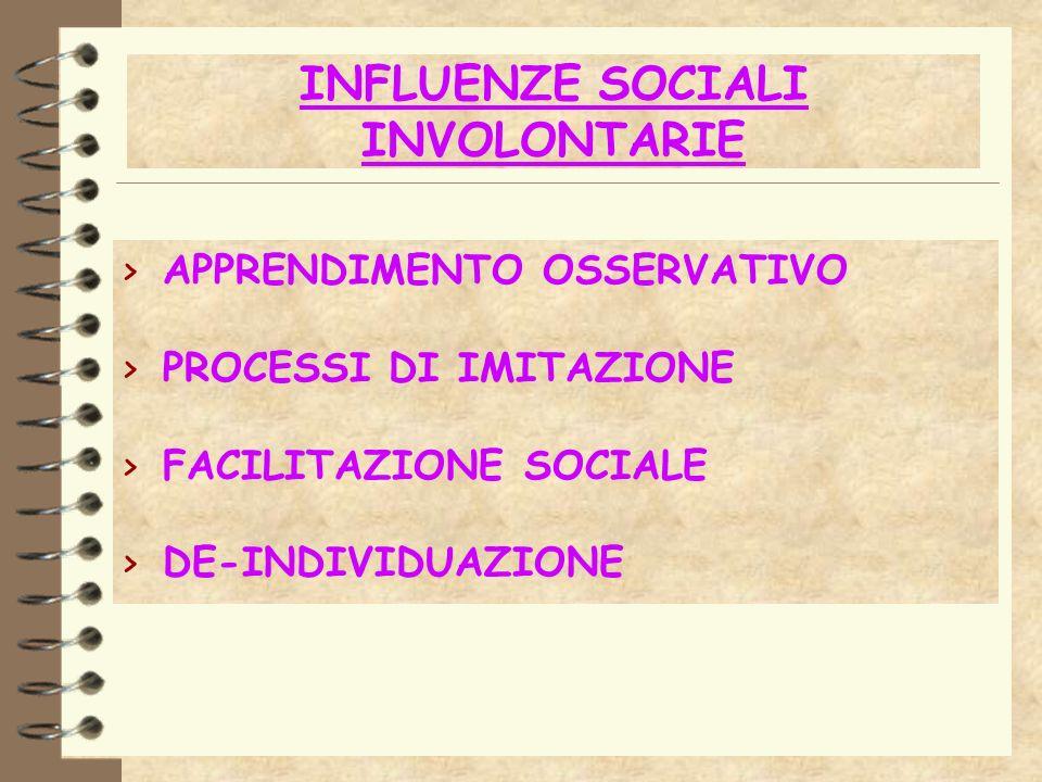 INFLUENZE SOCIALI INVOLONTARIE > APPRENDIMENTO OSSERVATIVO > PROCESSI DI IMITAZIONE > FACILITAZIONE SOCIALE > DE-INDIVIDUAZIONE