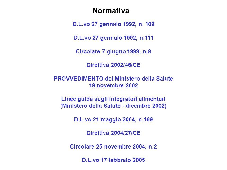 D.L.vo 27 gennaio 1992, n. 109 D.L.vo 27 gennaio 1992, n.111 Circolare 7 giugno 1999, n.8 Direttiva 2002/46/CE PROVVEDIMENTO del Ministero della Salut