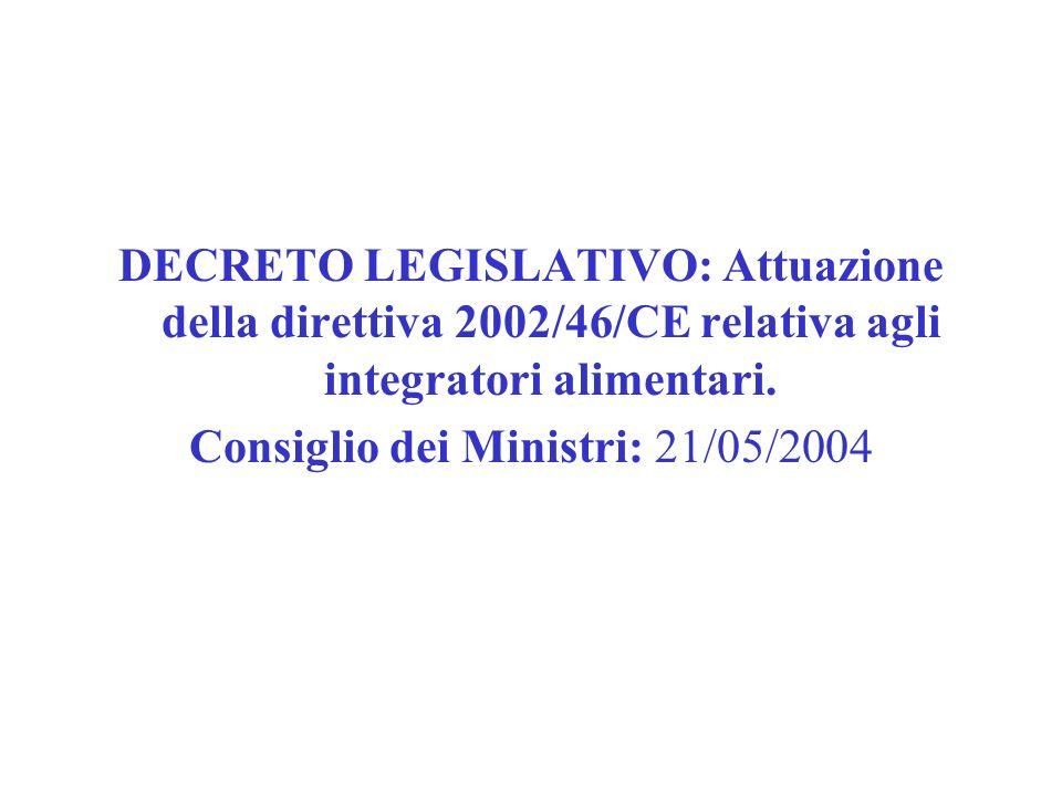 DECRETO LEGISLATIVO: Attuazione della direttiva 2002/46/CE relativa agli integratori alimentari. Consiglio dei Ministri: 21/05/2004