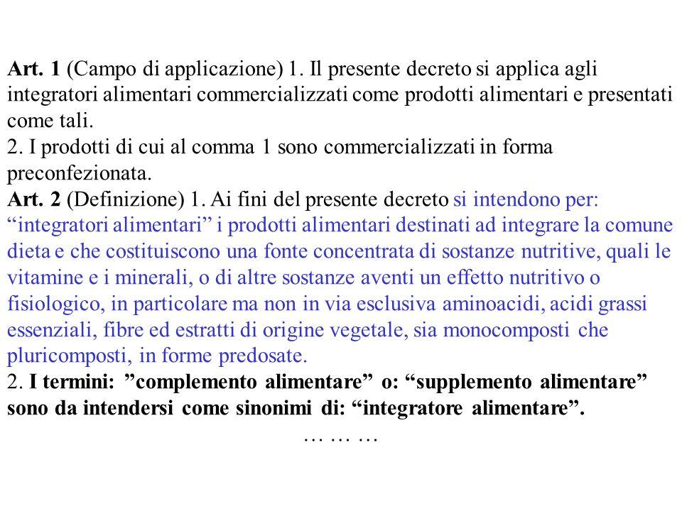 Art. 1 (Campo di applicazione) 1. Il presente decreto si applica agli integratori alimentari commercializzati come prodotti alimentari e presentati co