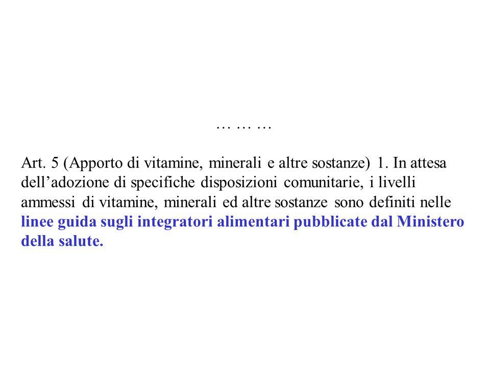 Art. 5 (Apporto di vitamine, minerali e altre sostanze) 1. In attesa delladozione di specifiche disposizioni comunitarie, i livelli ammessi di vitamin