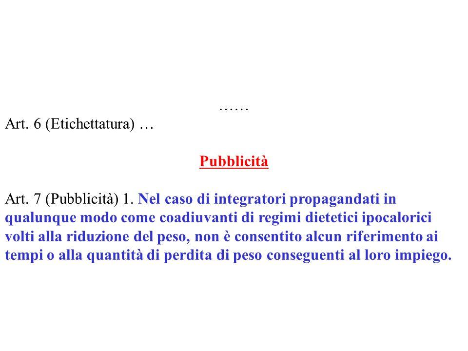 …… Art. 6 (Etichettatura) … Pubblicità Art. 7 (Pubblicità) 1. Nel caso di integratori propagandati in qualunque modo come coadiuvanti di regimi dietet