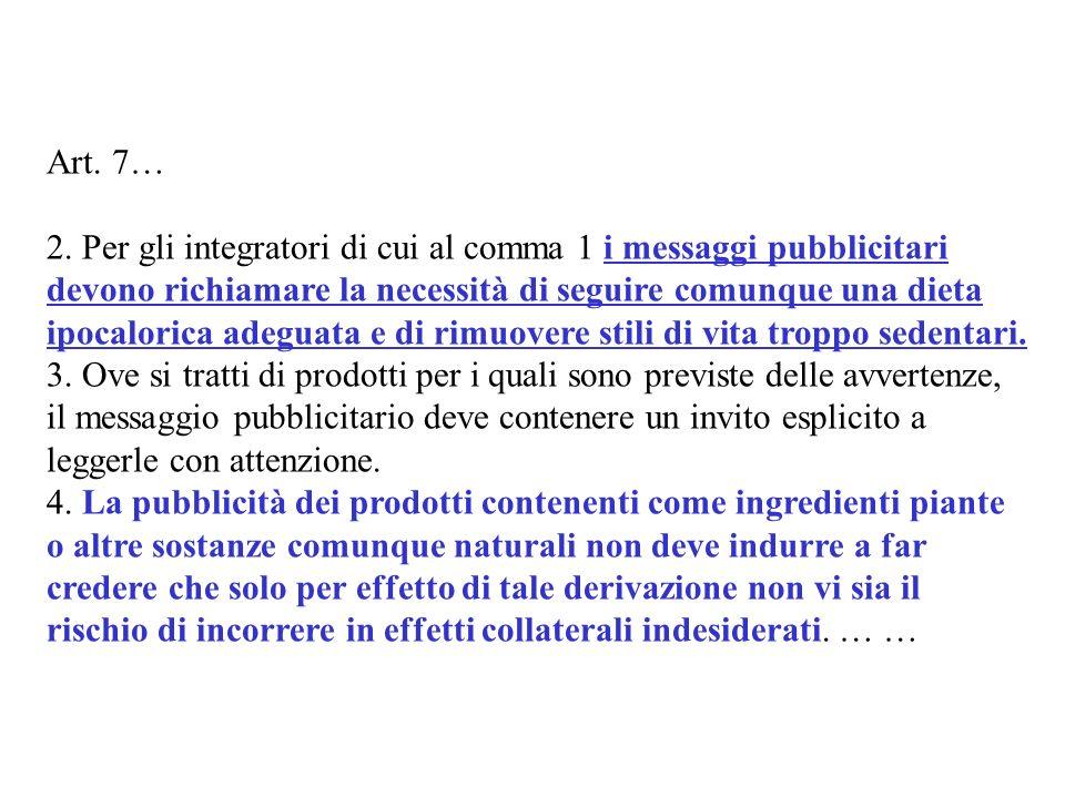 Art. 7… 2. Per gli integratori di cui al comma 1 i messaggi pubblicitari devono richiamare la necessità di seguire comunque una dieta ipocalorica adeg