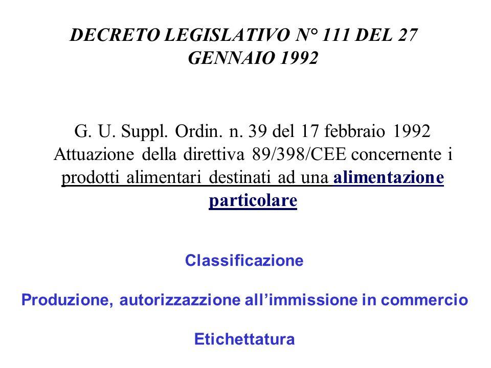 DECRETO LEGISLATIVO N° 111 DEL 27 GENNAIO 1992 G. U. Suppl. Ordin. n. 39 del 17 febbraio 1992 Attuazione della direttiva 89/398/CEE concernente i prod