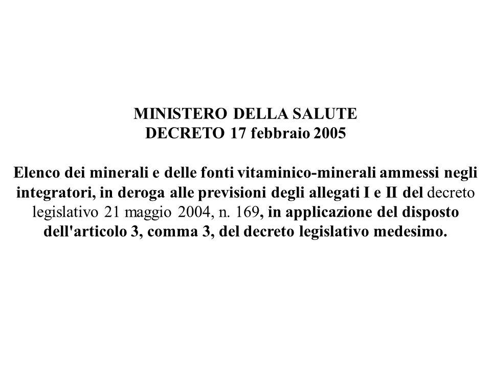 MINISTERO DELLA SALUTE DECRETO 17 febbraio 2005 Elenco dei minerali e delle fonti vitaminico-minerali ammessi negli integratori, in deroga alle previs