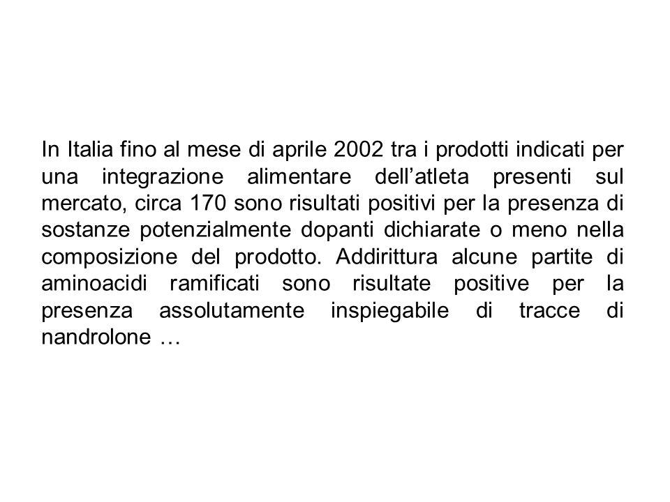 In Italia fino al mese di aprile 2002 tra i prodotti indicati per una integrazione alimentare dellatleta presenti sul mercato, circa 170 sono risultat