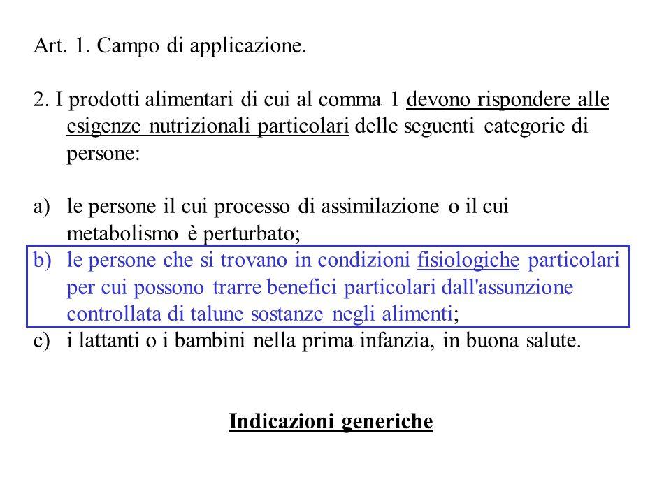 Art. 1. Campo di applicazione. 2. I prodotti alimentari di cui al comma 1 devono rispondere alle esigenze nutrizionali particolari delle seguenti cate