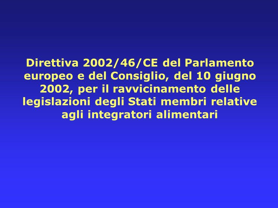 Direttiva 2002/46/CE del Parlamento europeo e del Consiglio, del 10 giugno 2002, per il ravvicinamento delle legislazioni degli Stati membri relative
