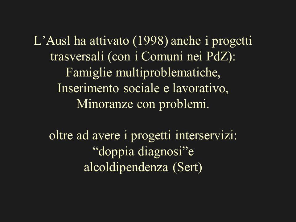 LAusl ha attivato (1998) anche i progetti trasversali (con i Comuni nei PdZ): Famiglie multiproblematiche, Inserimento sociale e lavorativo, Minoranze