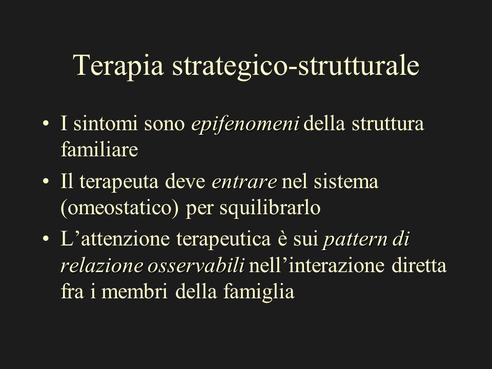 Terapia strategico-strutturale epifenomeniI sintomi sono epifenomeni della struttura familiare entrareIl terapeuta deve entrare nel sistema (omeostatico) per squilibrarlo pattern di relazione osservabiliLattenzione terapeutica è sui pattern di relazione osservabili nellinterazione diretta fra i membri della famiglia