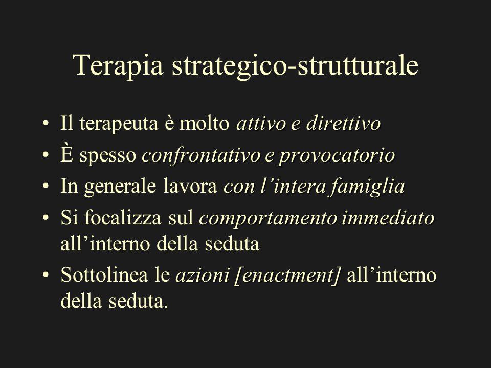 Terapia strategico-strutturale attivo e direttivoIl terapeuta è molto attivo e direttivo confrontativo e provocatorioÈ spesso confrontativo e provocat