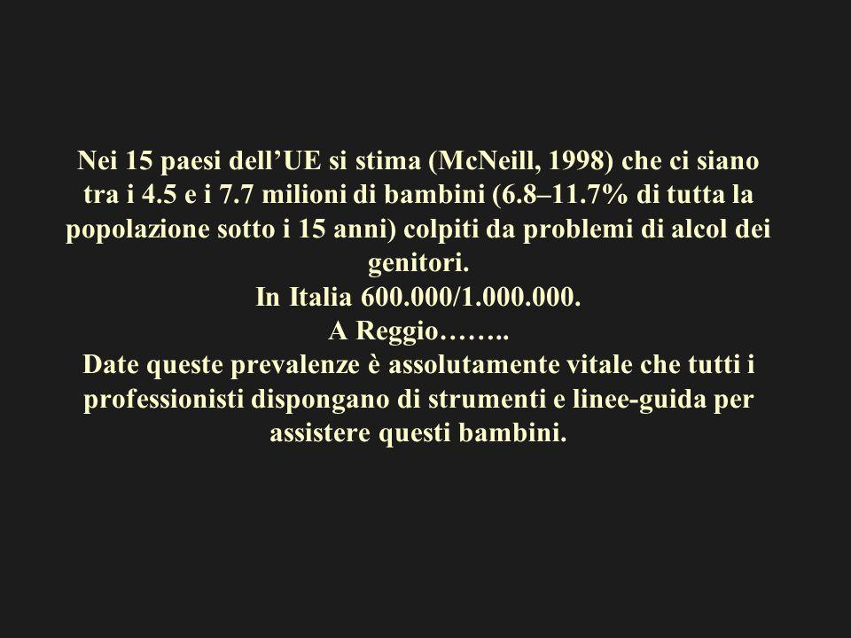 Nei 15 paesi dellUE si stima (McNeill, 1998) che ci siano tra i 4.5 e i 7.7 milioni di bambini (6.8–11.7% di tutta la popolazione sotto i 15 anni) colpiti da problemi di alcol dei genitori.