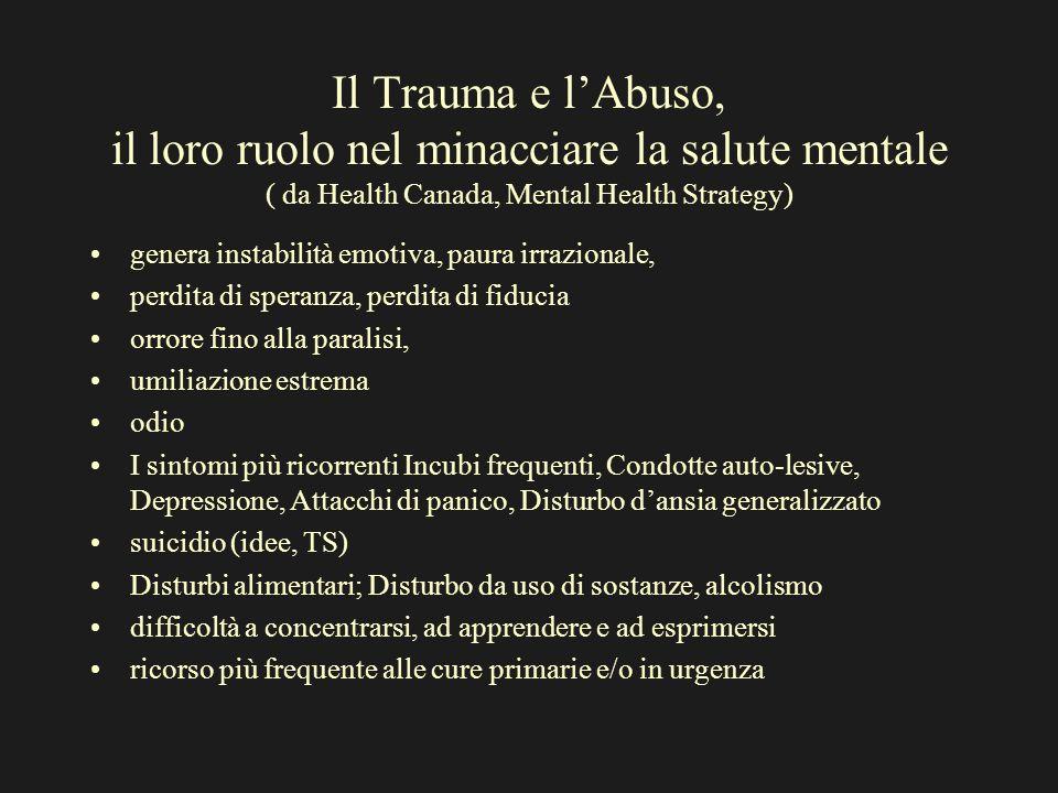 Il Trauma e lAbuso, il loro ruolo nel minacciare la salute mentale ( da Health Canada, Mental Health Strategy) genera instabilità emotiva, paura irraz