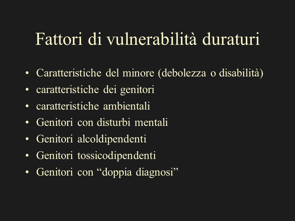 Fattori di vulnerabilità duraturi Caratteristiche del minore (debolezza o disabilità) caratteristiche dei genitori caratteristiche ambientali Genitori
