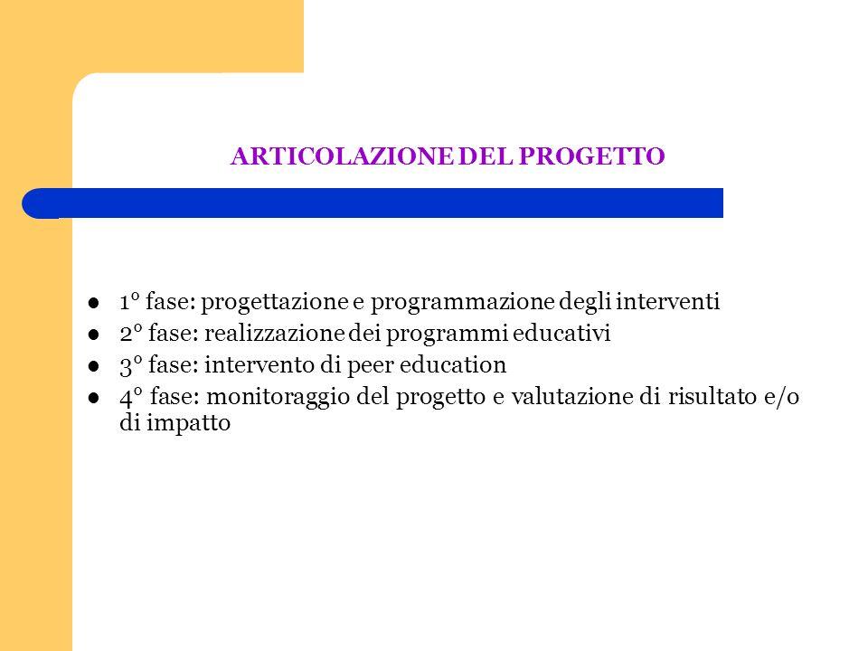 ARTICOLAZIONE DEL PROGETTO 1° fase: progettazione e programmazione degli interventi 2° fase: realizzazione dei programmi educativi 3° fase: intervento