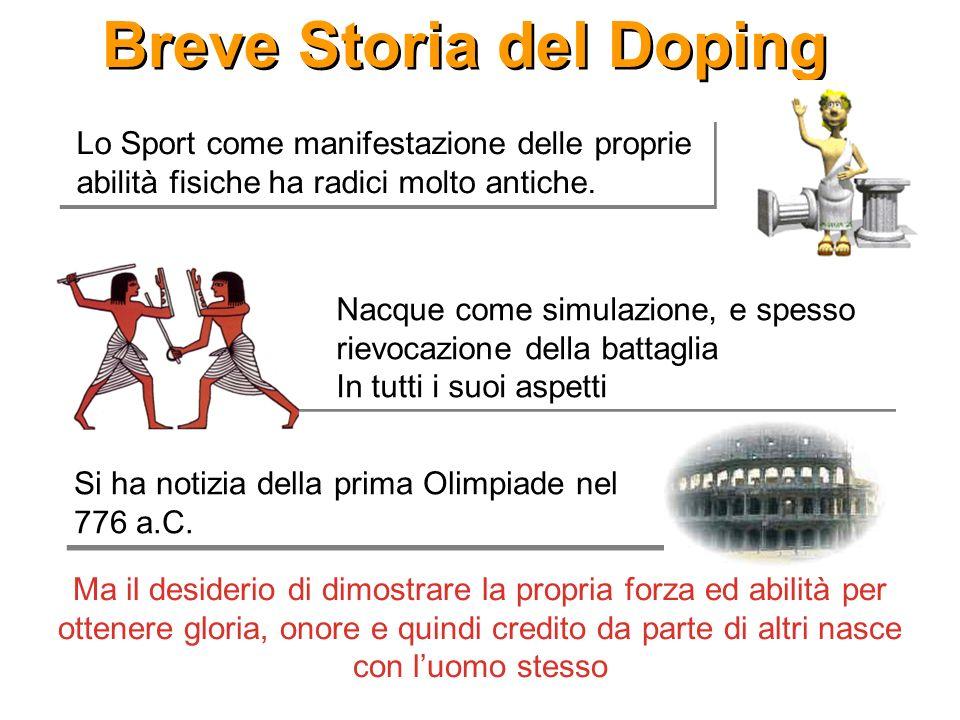 Breve Storia del Doping Lo Sport come manifestazione delle proprie abilità fisiche ha radici molto antiche. Ma il desiderio di dimostrare la propria f