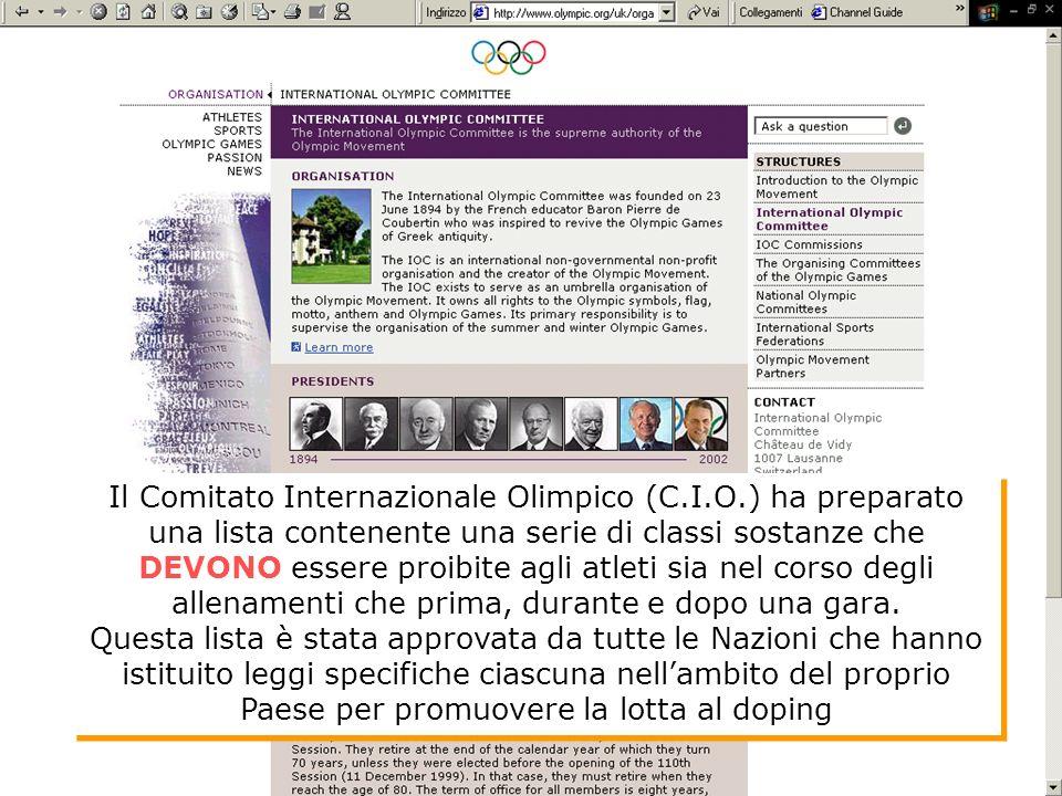 Il Comitato Internazionale Olimpico (C.I.O.) ha preparato una lista contenente una serie di classi sostanze che DEVONO essere proibite agli atleti sia nel corso degli allenamenti che prima, durante e dopo una gara.