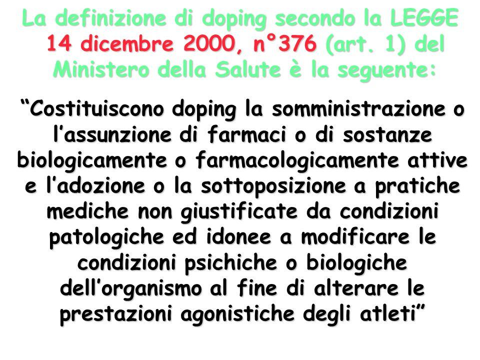 La definizione di doping secondo la LEGGE 14 dicembre 2000, n°376 (art.
