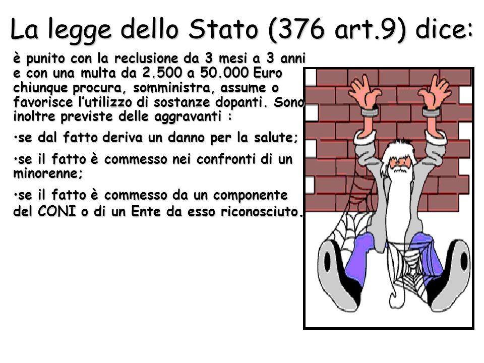 La legge dello Stato (376 art.9) dice: è punito con la reclusione da 3 mesi a 3 anni e con una multa da 2.500 a 50.000 Euro chiunque procura, somminis