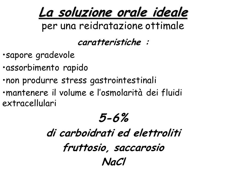 La soluzione orale ideale La soluzione orale ideale per una reidratazione ottimale caratteristiche : sapore gradevole assorbimento rapido non produrre