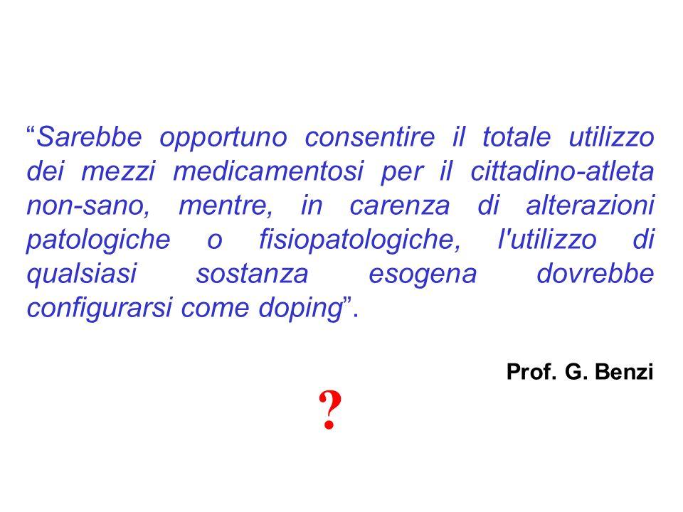 Sarebbe opportuno consentire il totale utilizzo dei mezzi medicamentosi per il cittadino-atleta non-sano, mentre, in carenza di alterazioni patologich
