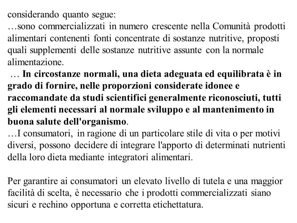 In Italia fino al mese di aprile 2002 tra i prodotti indicati per una integrazione alimentare dellatleta presenti sul mercato, circa 170 sono risultati positivi per la presenza di sostanze potenzialmente dopanti dichiarate o meno nella composizione del prodotto.