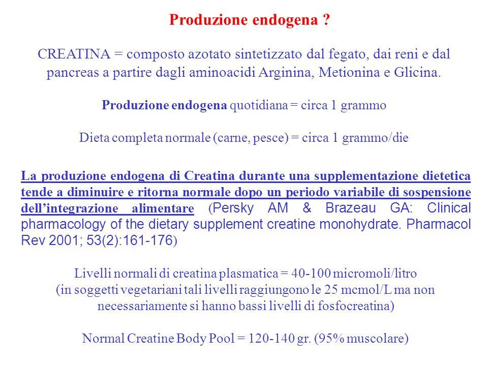 CREATINA = composto azotato sintetizzato dal fegato, dai reni e dal pancreas a partire dagli aminoacidi Arginina, Metionina e Glicina. Produzione endo