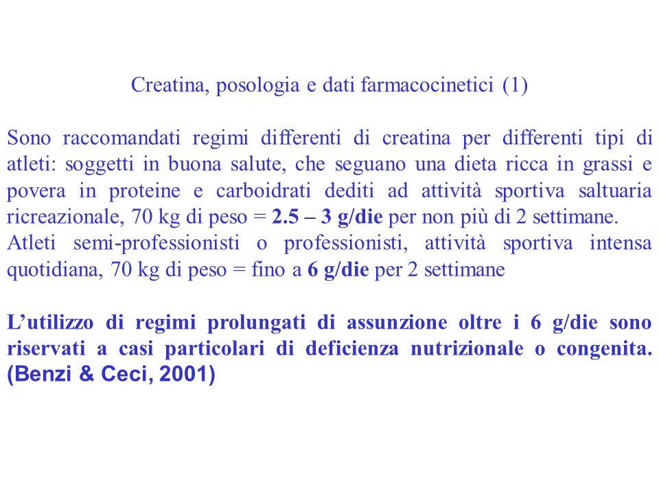 Creatina, posologia e dati farmacocinetici (1) Sono raccomandati regimi differenti di creatina per differenti tipi di atleti: soggetti in buona salute