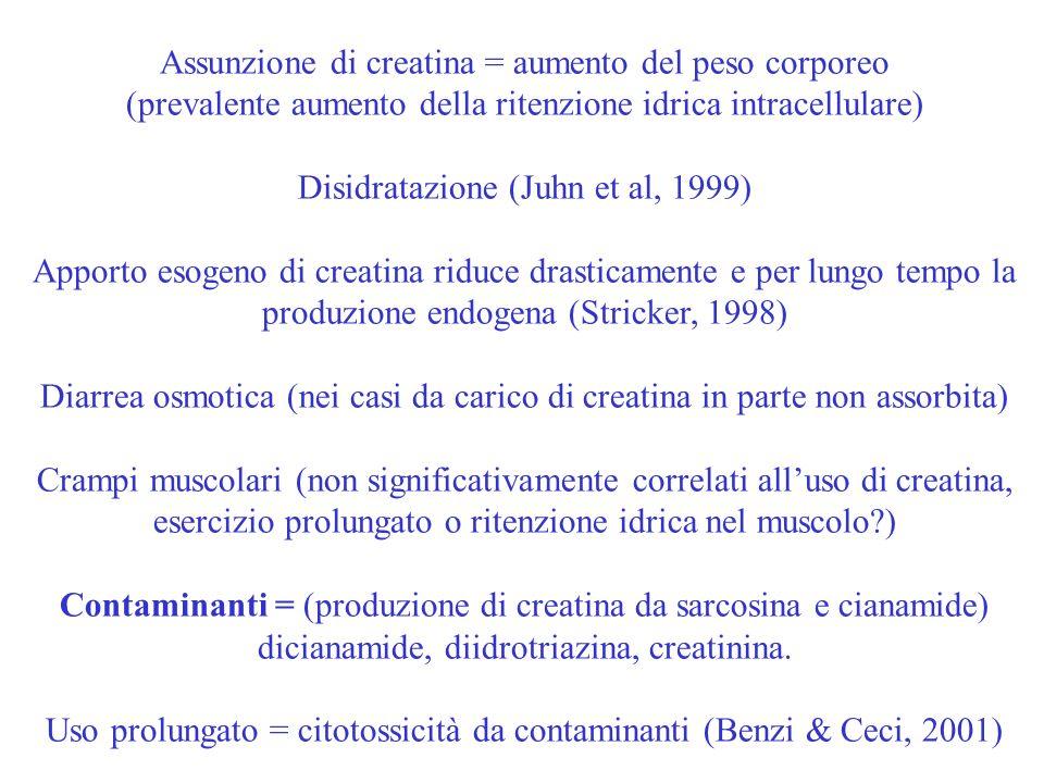 Assunzione di creatina = aumento del peso corporeo (prevalente aumento della ritenzione idrica intracellulare) Disidratazione (Juhn et al, 1999) Appor