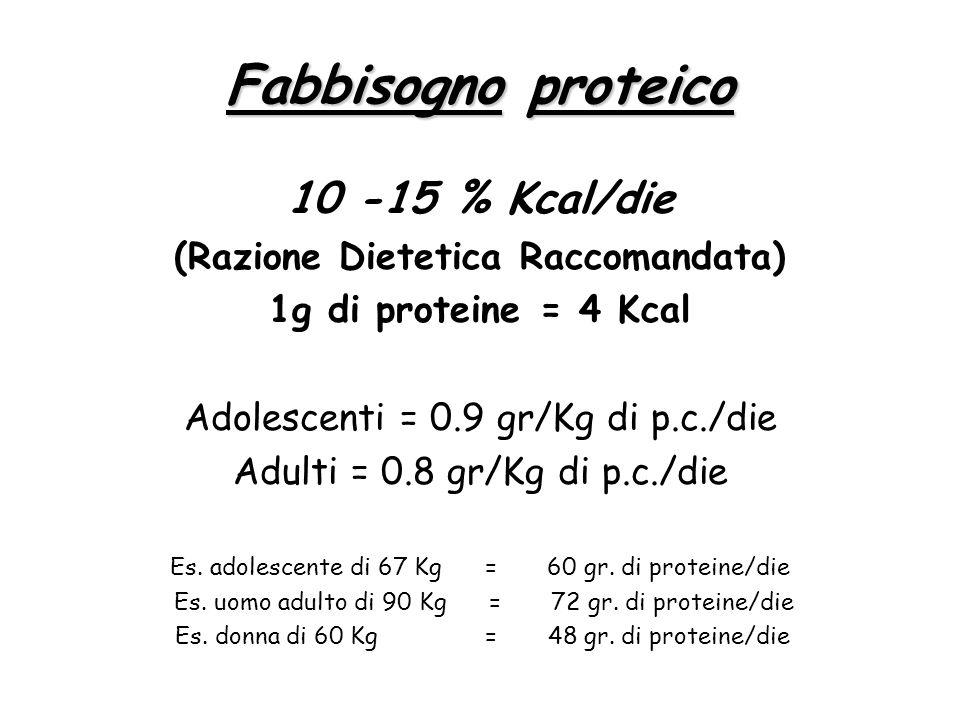 Fabbisogno proteico 10 -15 % Kcal/die (Razione Dietetica Raccomandata) 1g di proteine = 4 Kcal Adolescenti = 0.9 gr/Kg di p.c./die Adulti = 0.8 gr/Kg