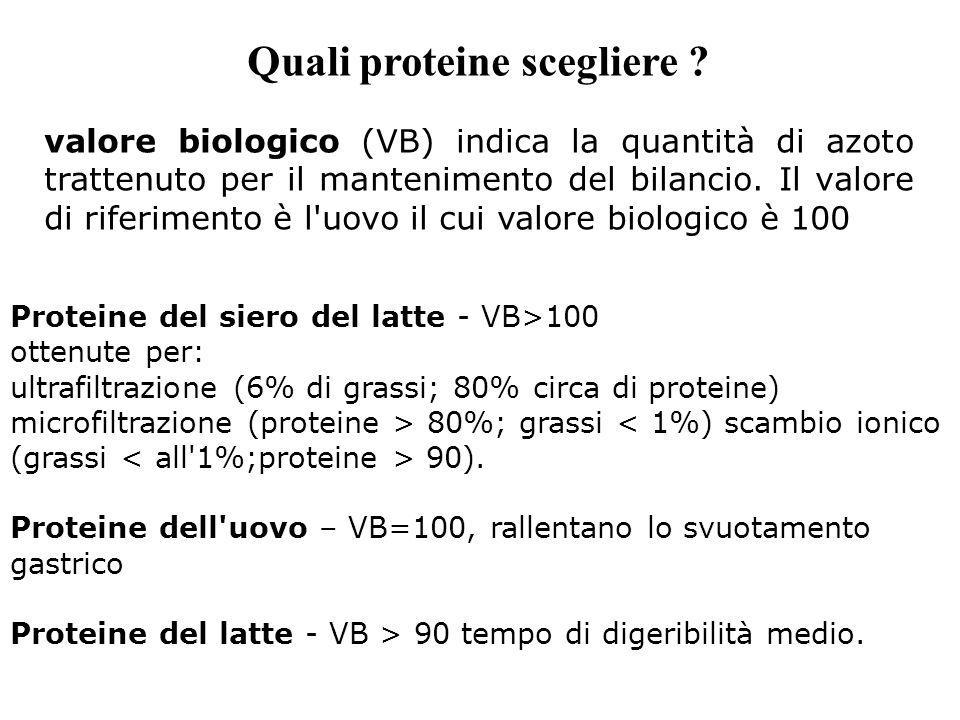 Quali proteine scegliere ? valore biologico (VB) indica la quantità di azoto trattenuto per il mantenimento del bilancio. Il valore di riferimento è l