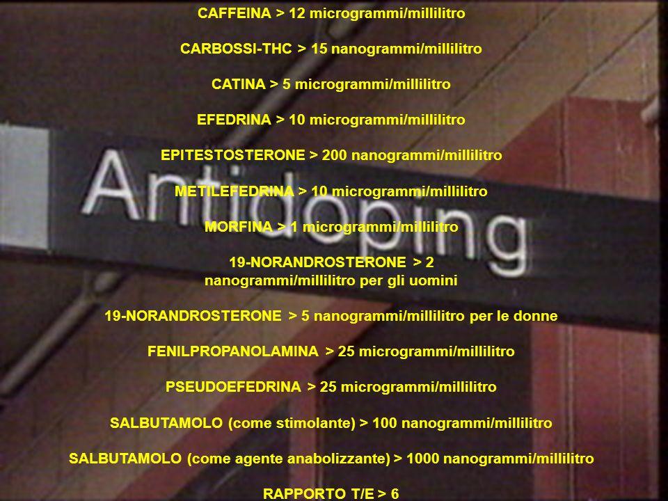 CAFFEINA > 12 microgrammi/millilitro CARBOSSI-THC > 15 nanogrammi/millilitro CATINA > 5 microgrammi/millilitro EFEDRINA > 10 microgrammi/millilitro EP