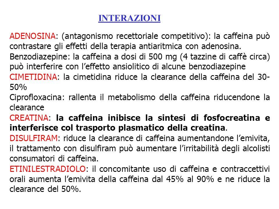 ADENOSINA: (antagonismo recettoriale competitivo): la caffeina può contrastare gli effetti della terapia antiaritmica con adenosina. Benzodiazepine: l