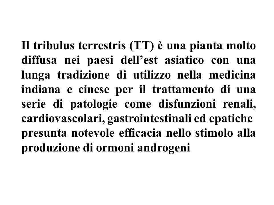 Il tribulus terrestris (TT) è una pianta molto diffusa nei paesi dellest asiatico con una lunga tradizione di utilizzo nella medicina indiana e cinese