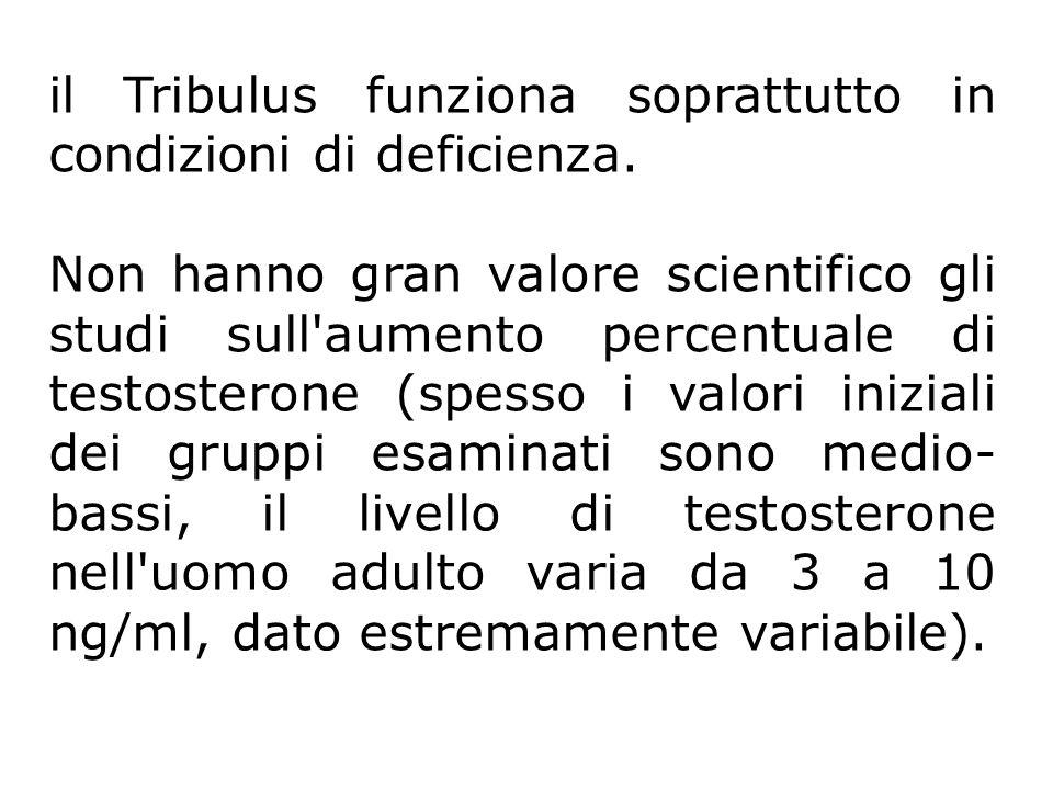 il Tribulus funziona soprattutto in condizioni di deficienza. Non hanno gran valore scientifico gli studi sull'aumento percentuale di testosterone (sp