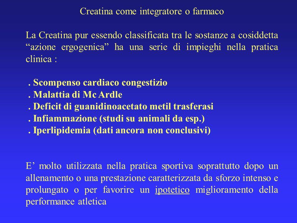 Creatina come integratore o farmaco La Creatina pur essendo classificata tra le sostanze a cosiddetta azione ergogenica ha una serie di impieghi nella
