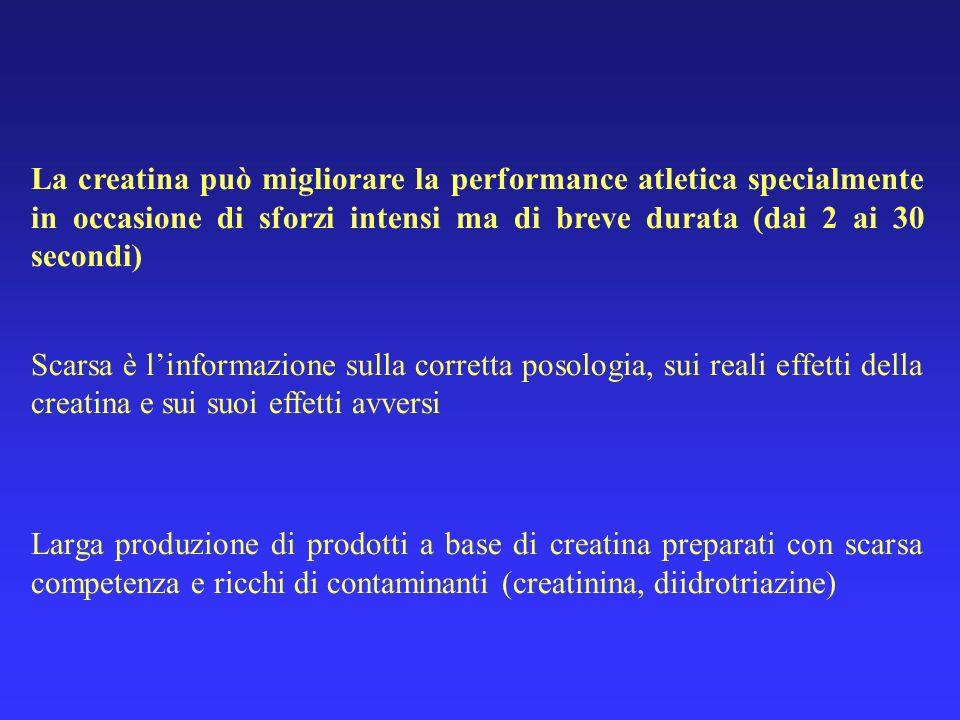 La creatina può migliorare la performance atletica specialmente in occasione di sforzi intensi ma di breve durata (dai 2 ai 30 secondi) Scarsa è linfo
