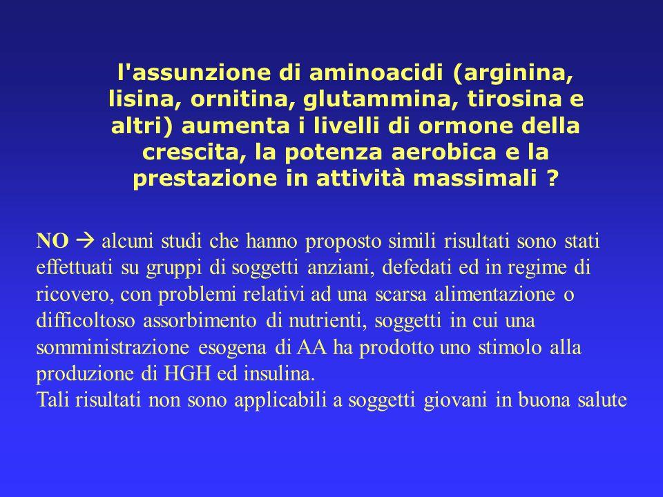 l'assunzione di aminoacidi (arginina, lisina, ornitina, glutammina, tirosina e altri) aumenta i livelli di ormone della crescita, la potenza aerobica