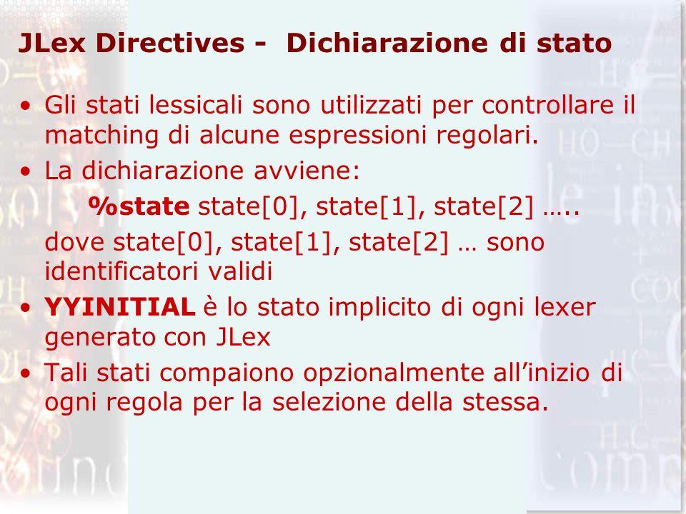 JLex Directives - Dichiarazione di stato Gli stati lessicali sono utilizzati per controllare il matching di alcune espressioni regolari. La dichiarazi