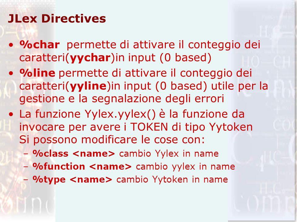 JLex Directives %char permette di attivare il conteggio dei caratteri(yychar)in input (0 based) %line permette di attivare il conteggio dei caratteri(