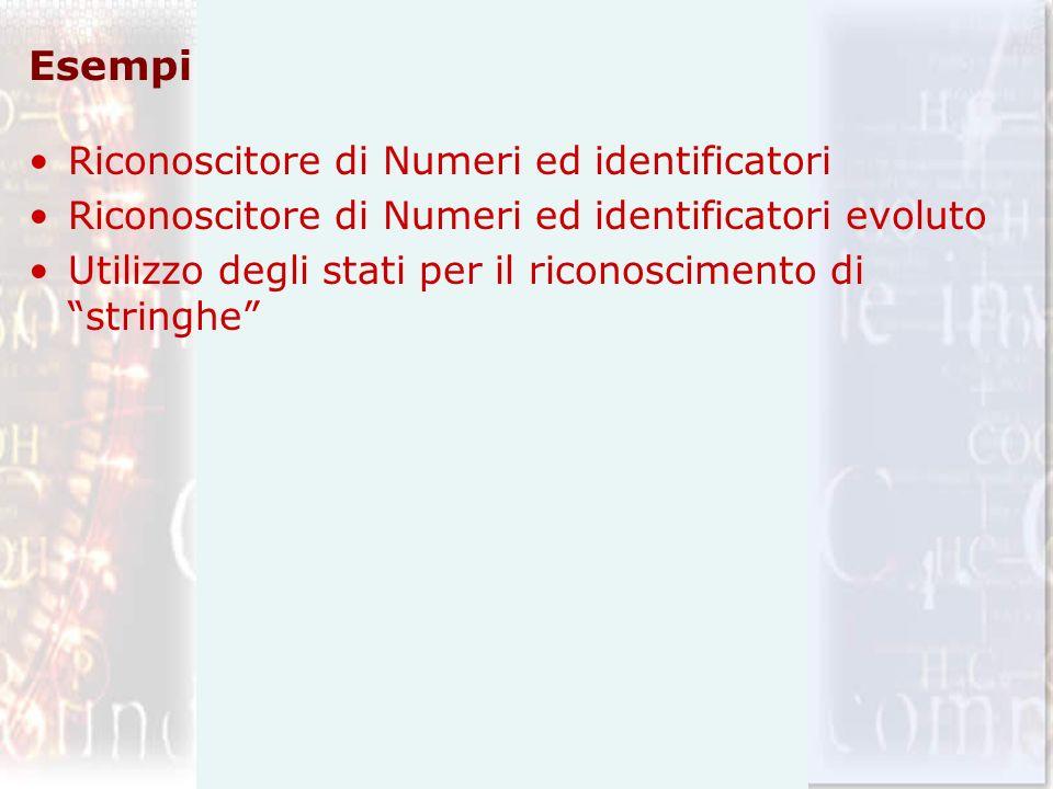 Esempi Riconoscitore di Numeri ed identificatori Riconoscitore di Numeri ed identificatori evoluto Utilizzo degli stati per il riconoscimento di strin